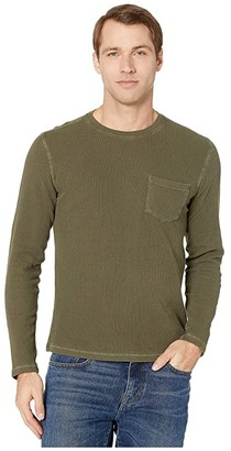 Lucky Brand French Rib Thermal Crew Top (Olive Night) Men's Clothing
