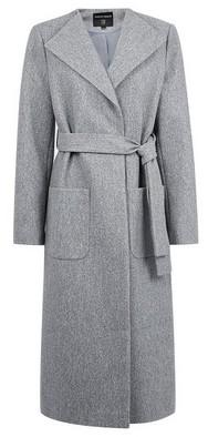 Grey Collarless Wrap Coat