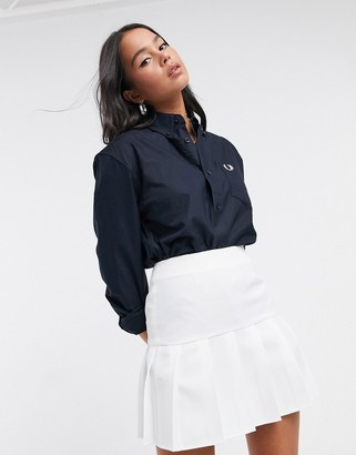 Fred Perry oversized boyfriend oxford shirt in navy