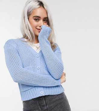 Noisy May Petite cardigan with pockets in blue