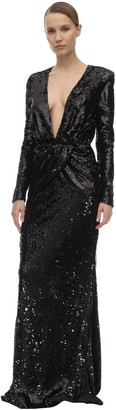 Amen Black Long Sequined Dress