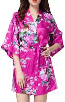 PHOENISING Women's Short Style Satin Kimono Robe Floral Lounge Wear