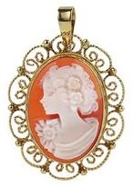 Del Gatto Young Girl Cornelian Cameo 18K Framed Pendant