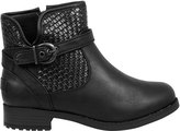 Yours Clothing Black Whipstitch Ankle Boot In EEE Fit