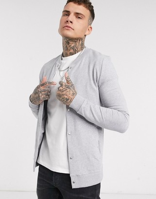 ASOS DESIGN organic jersey muscle bomber jacket in gray marl with poppers