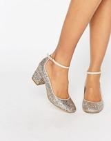 Carvela Glitter Kitten heel Ankle Strap Shoe