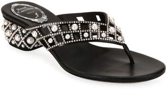 Rene Caovilla Pearly Studded Leather Thong Sandals