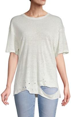 Iro . Jeans Distressed Linen-Blend Tee