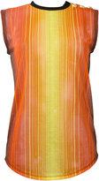 Balmain striped gauze sleeveless T-shirt
