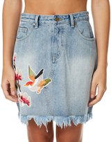 MinkPink China Heights Patch Mini Skirt Blue