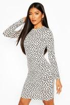 boohoo Dalmatian Print Long Sleeve Mini Dress