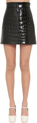 Miu Miu Croc Embossed Faux Leather Mini Skirt