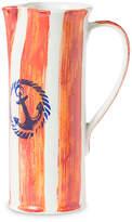 Vietri Costiera Tall Striped Pitcher - Orange