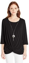 Notations Women's Petite Twist-Front Top with Necklace