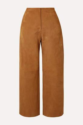 KHAITE Charlize Paneled Suede Wide-leg Pants - Camel