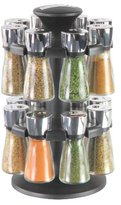 Cole & Mason Hudson 16-Jar Filled Herb and Spice Carousel/Rack Plastic and Glass - Black