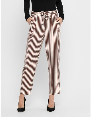 Only Striped Straight Trousers with Tie Belt