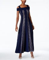 R & M Richards Glitter Lace Cold-Shoulder Gown