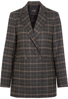 Maje Checked Stretch-felt Blazer - Brown