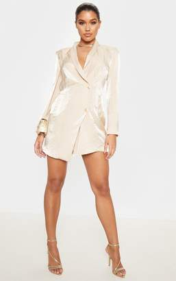 PrettyLittleThing Champagne Pleated Shimmer Gold Button Blazer Dress