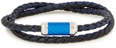 Tateossian Montecarlo Navy Leather Wrap Bracelet