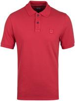Cp Company Coral Red Pique Short Sleeve Polo Shirt