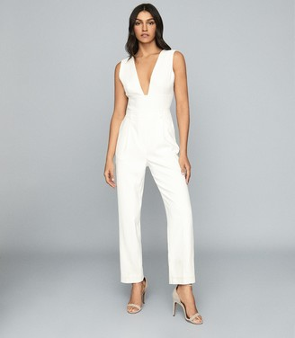Reiss Lina - Plunge Tailored Jumpsuit in White