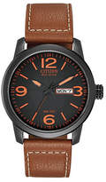 Citizen Analog Sport Leather Strap Watch