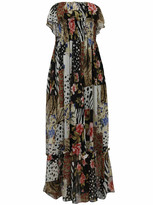 Wild Print Strapless Maxi Dress