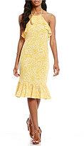 MICHAEL Michael Kors Tansy Floral Print Matte Jersey Halter Neck Flounce Hem Dress