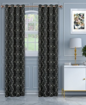 """Superior Soft Quality Woven, Imperial Trellis Blackout Thermal Grommet Curtain Panel Pair, Set of 2, 52"""" x 63"""""""
