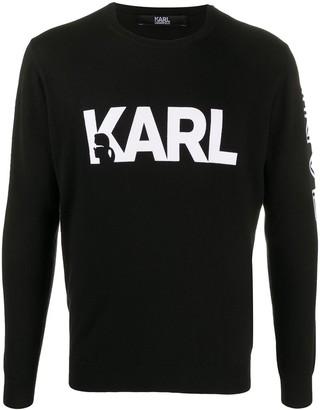 Karl Lagerfeld Paris Long Sleeve Logo Print Jumper