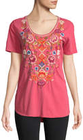 Johnny Was Anaya Short-Sleeve Embroidered Top, Coral