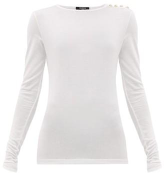 Balmain Buttoned Jersey T-shirt - White
