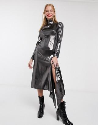 Asos high neck metallic open back long sleeve midi dress-Black