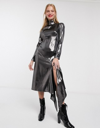 ASOS high neck metallic open back long sleeve midi dress
