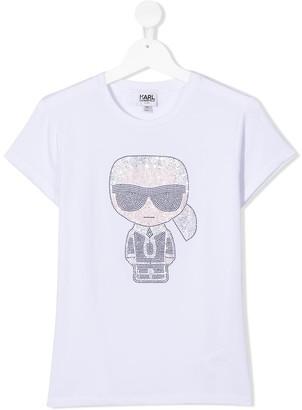 Karl Lagerfeld Paris TEEN Iconik embellished T-shirt