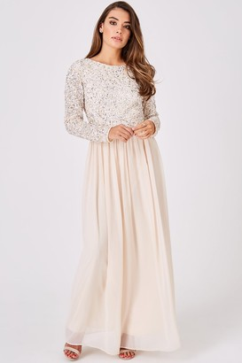 Little Mistress Luxury Briella Nude Hand-Embellished Pearl Maxi Dress