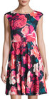 Eliza J-eliza j floralprint fitandflare dress red multi