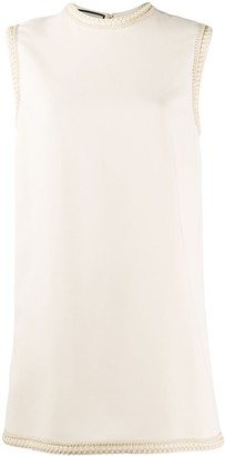 Gucci Embroidered Trim Sleeveless Mini Dress