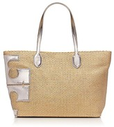 """Tory Burch Metallic Stacked """"t"""" Tote"""