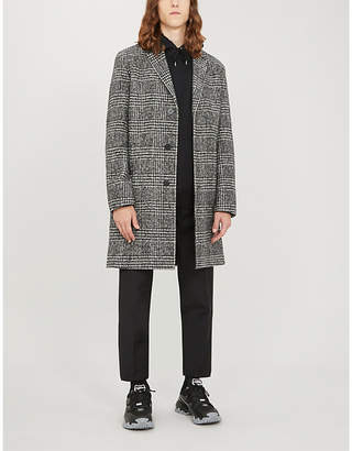 HUGO Prince of Wales check wool-blend coat