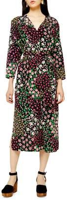 Topshop Floral-Print Tie Midi Smock Dress