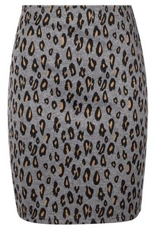 Dorothy Perkins Womens Grey Animal Print Mini Skirt, Grey