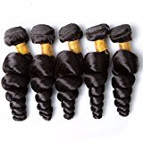 Vinsteen Loose Wave Human Hair Extensions Brazilian Best Quality Hair 5 Bundles Natural Color Machine Double Weft Weaving Can Be Dyed Aliways (5pcs 18 inch)
