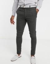 Asos Design DESIGN wedding super skinny suit trousers in wool mix herringbone in charcoal