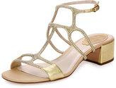 Rene Caovilla Geometric Crystal City Sandal, Gold