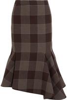 Balenciaga Asymmetric Checked Wool Skirt - Chocolate