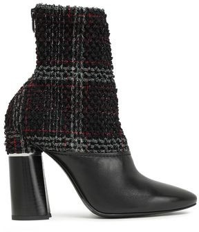 3.1 Phillip Lim Drum Checked Boucle-tweed And Leather Ankle Boots