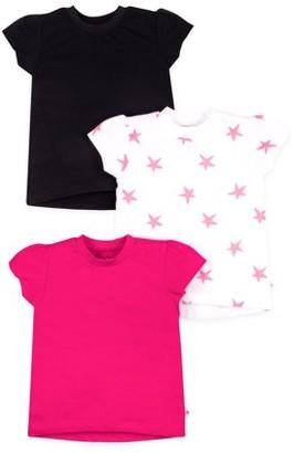 Little Star Organic Short Sleeve Pure Organic True Brights Puff Sleeve T-shirts, 3 Pk (Baby Girls & Toddler Girls)